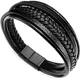 Murtoo Leather Bracelet Magnetic-Clasp Cowhide Braided Multi-Layer Wrap Mens Bracelet,7'-8.7'