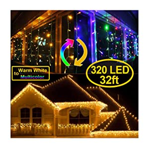 KNONEW Color Changing Icicle Lights, 320 LED 32ft, 9 Modes, Curtain Fairy Light with 64 Drops, Green Wire Icicle Twinkle Lights for Christmas, Holiday, Party Decorations (Warm White & Multicolor)