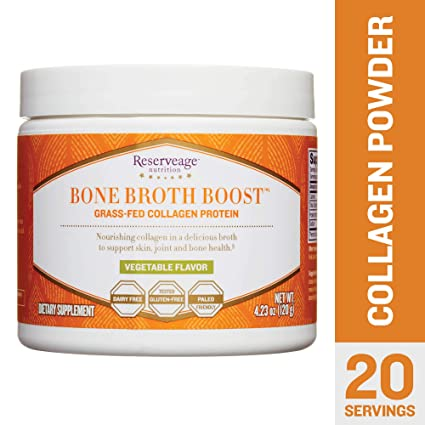 Reserveage Nutrition - Bone Broth Boost Grass-Fed Collagen Protein Powder Vegetable - 4.23 oz
