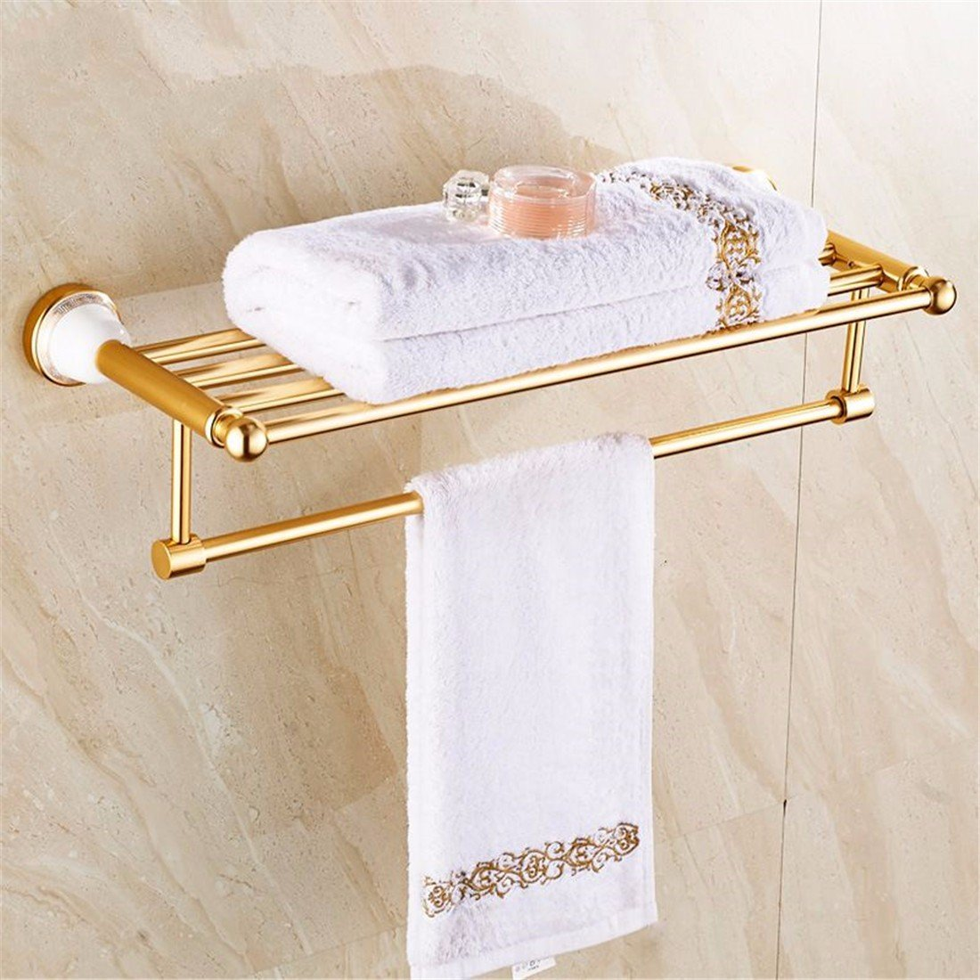 Laona Europeanアルミニウムゴールドアンティークセラミックベース、バスルーム継手、トイレ紙ラック、ソープディッシュ 9358462287523 B077D3PKCSTowel Rack