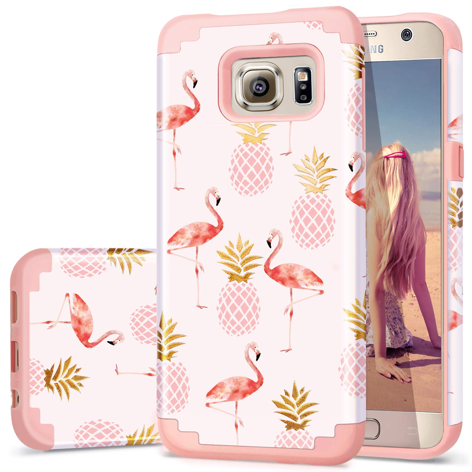 Fingic Samsung Galaxy S6 Case,S6 Case Summer,Pineapple&Flamingos Pattern Cute Case Hard PC&Soft Silicone Case for Girls Cover for Samsung Galaxy ...