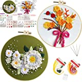 2 Sets Embroidery Starter Kit with Flower Pattern,Cross Stitch Set for Beginners, Full Range of Stamped Embroidery Kits…