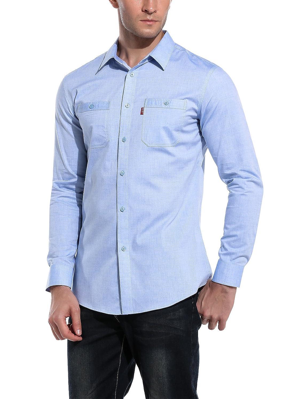 HOTOUCH Uomo Manica Lunga Camicia Casuale di Cotone Modo con Revers Classica GMJ004983