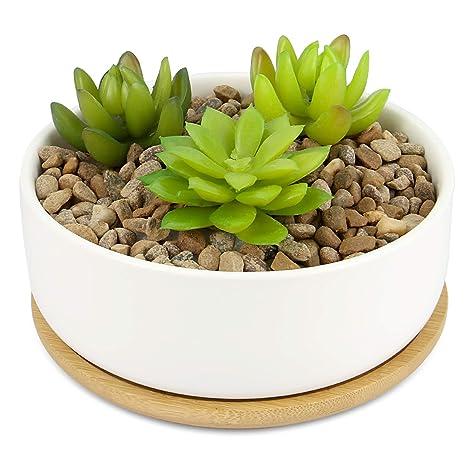 Pot A Plantes En Ceramique Et Base En Bambou Jardiniere Succulente D Interieur Et D Exterieur Pots Blancs De Cactus Et De Petites Plantes