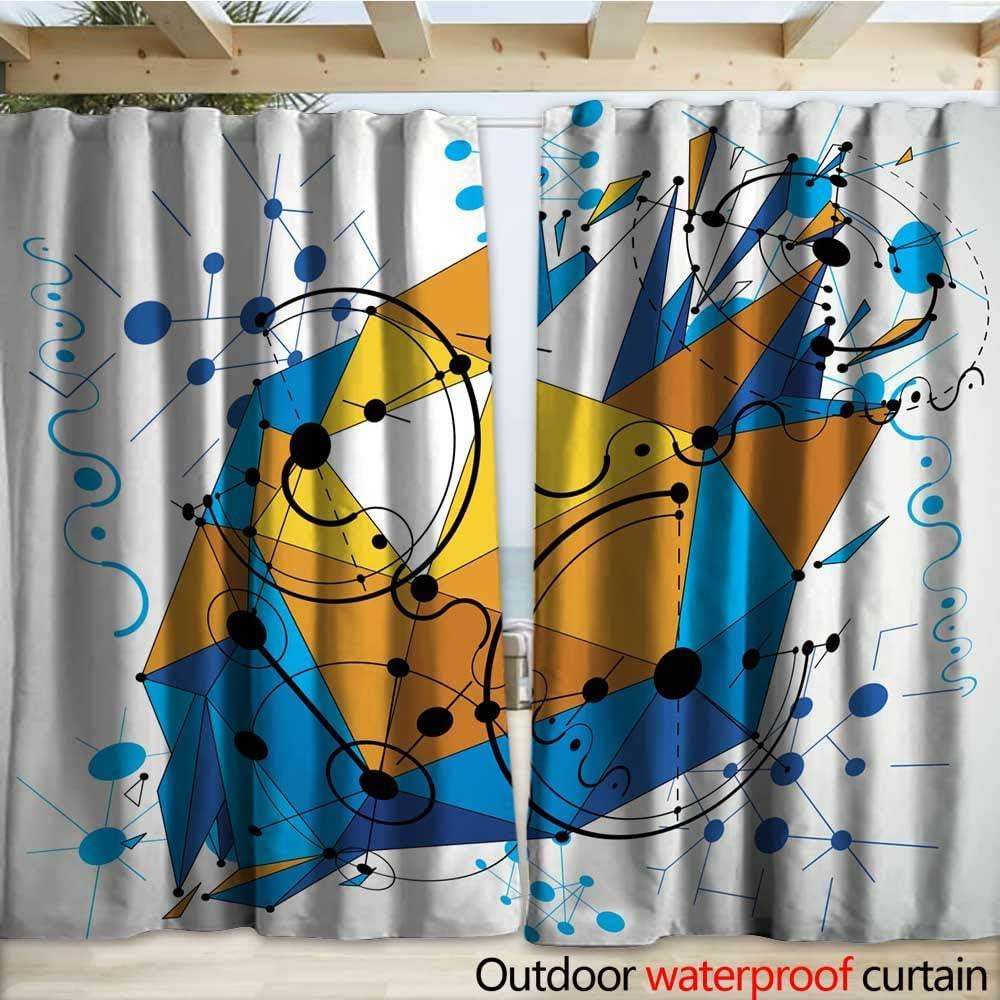 warmfamily - Cortina Impermeable para Exteriores, diseño de Vector Bauhaus Abstracto con Rejilla de Cortinas, 108 x 96 cm: Amazon.es: Jardín