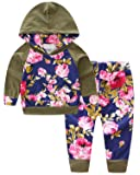 2 Pieces Outfit, Long Sleeve Vintage Floral Hooed