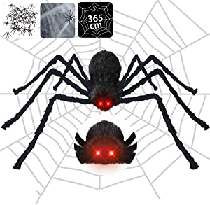Halloween Spider Decorations Outdoor with Red LED Eyes and Spooky Sound, 4.1 ft Giant Scary Spider+12ft Spider Web+Stretch Spiders Cobweb+20 Small Plastic Spiders for Indoor Outdoor Yard Creepy Decor