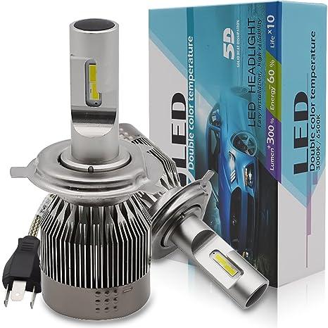 H4 LED Faro Bombillas Kit - Safego 30W LED 4LED Chips 3800LM LED Coche Kit de