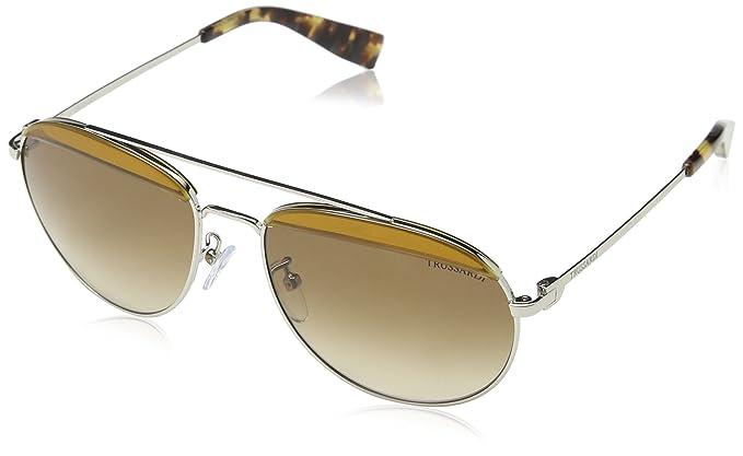 Trussardi Unisex Sonnenbrille Str009V, Braun (Shiny Rose Gold), Einheitsgröße