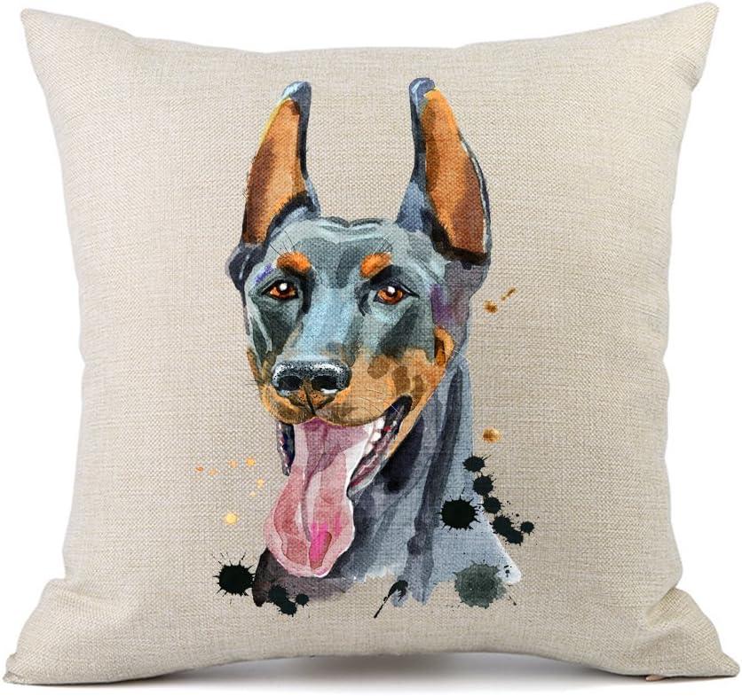 Moyun Cute Pet Doberman Dog Pattern Cushion Cover Cotton Linen Throw Pillowcase Car Sofa Home Decor 18 inches Square