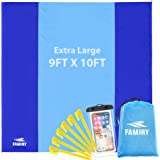 Famiry Sand Free Beach Blanket, Extra Large 10 x 9 Feet Size, Durable & Compact Beach Outdoor Mat, Includes 6 Stakes, 4 Sand