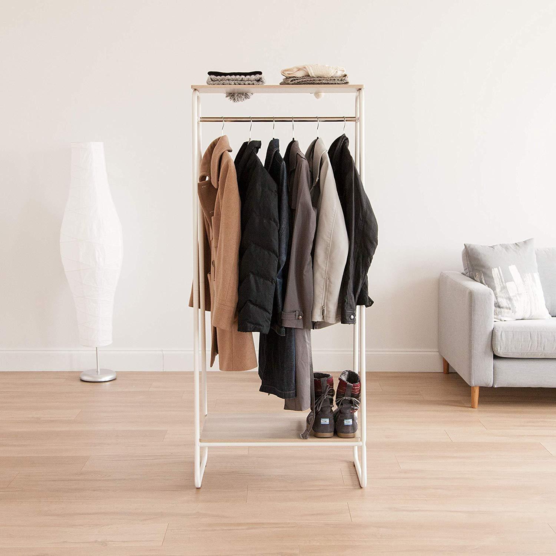 Garment Rack PI-B4 Iris Ohyama Portant penderie // Porte-manteaux avec /étag/ères et supports accessoires en bois MDF et m/étal 64 x 40 x 150 cm Brun et noir
