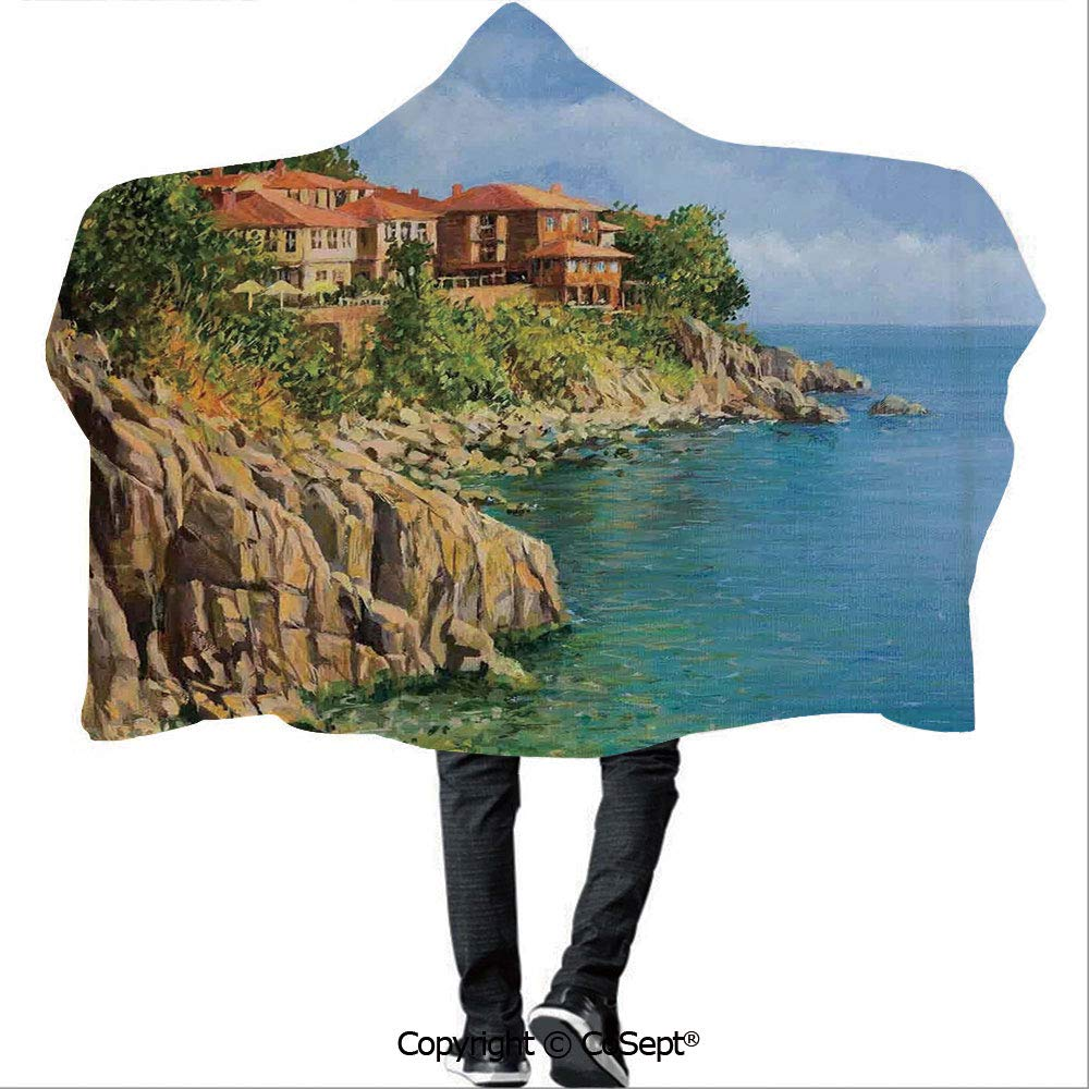SCOCICI Hooded Blankets,Tranquil Summer in Sozopol Bulgaria Houses on Cliffs Sea,Unisex All Ages One Size Fits All(59.05x78.74 inch),Light Brown Green and Blue