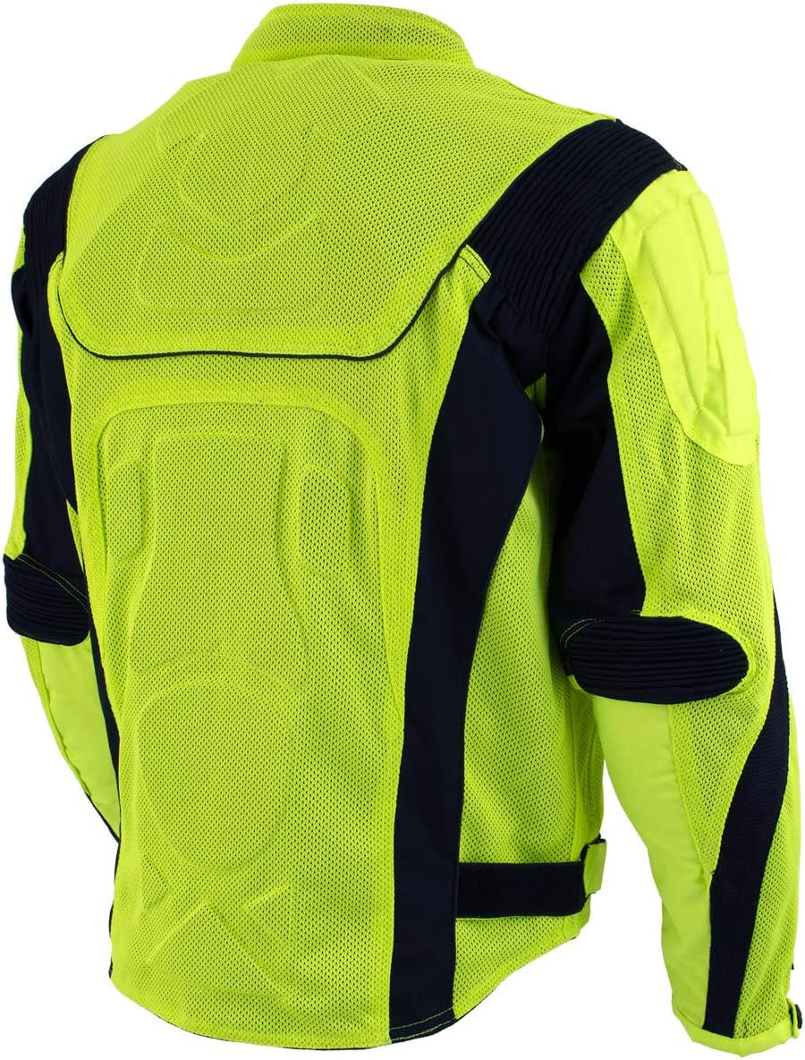 Xelement CF-6019-66 Invasion Mens Neon Green Mesh Armored Motorcycle Jacket 2X-Large