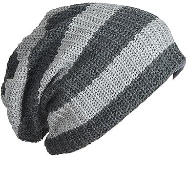56204179178 Mens Slouchy Long Beanie Knit Cap for Summer Winter Oversize (B09-Gray)