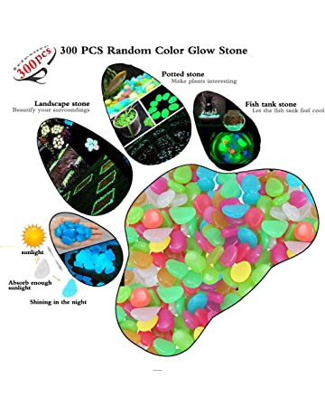 Iriesure Piedras Resplandecientes, 300PCS Piedras Luminosas Brillan Guijarros para Pasarela De Jardín Y Decoración Pecera