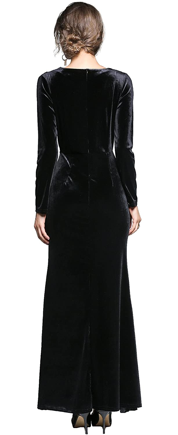 54aae5af4c5 Amazon.com  Ababalaya Women s 90s Retro Velvet Long Bodycon Side Slit  Formal Evening Gown  Clothing