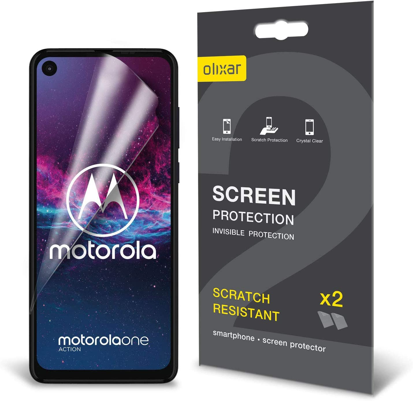 Not Tempered Glass Updated Version Synvy Privacy Screen Protector Film for Motorola One Action Anti Spy Protective Protectors