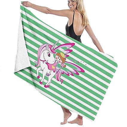 e431e62979 Amazon.com: Little Girl and Unicorn Striped Bath Towel Wrap Womens ...