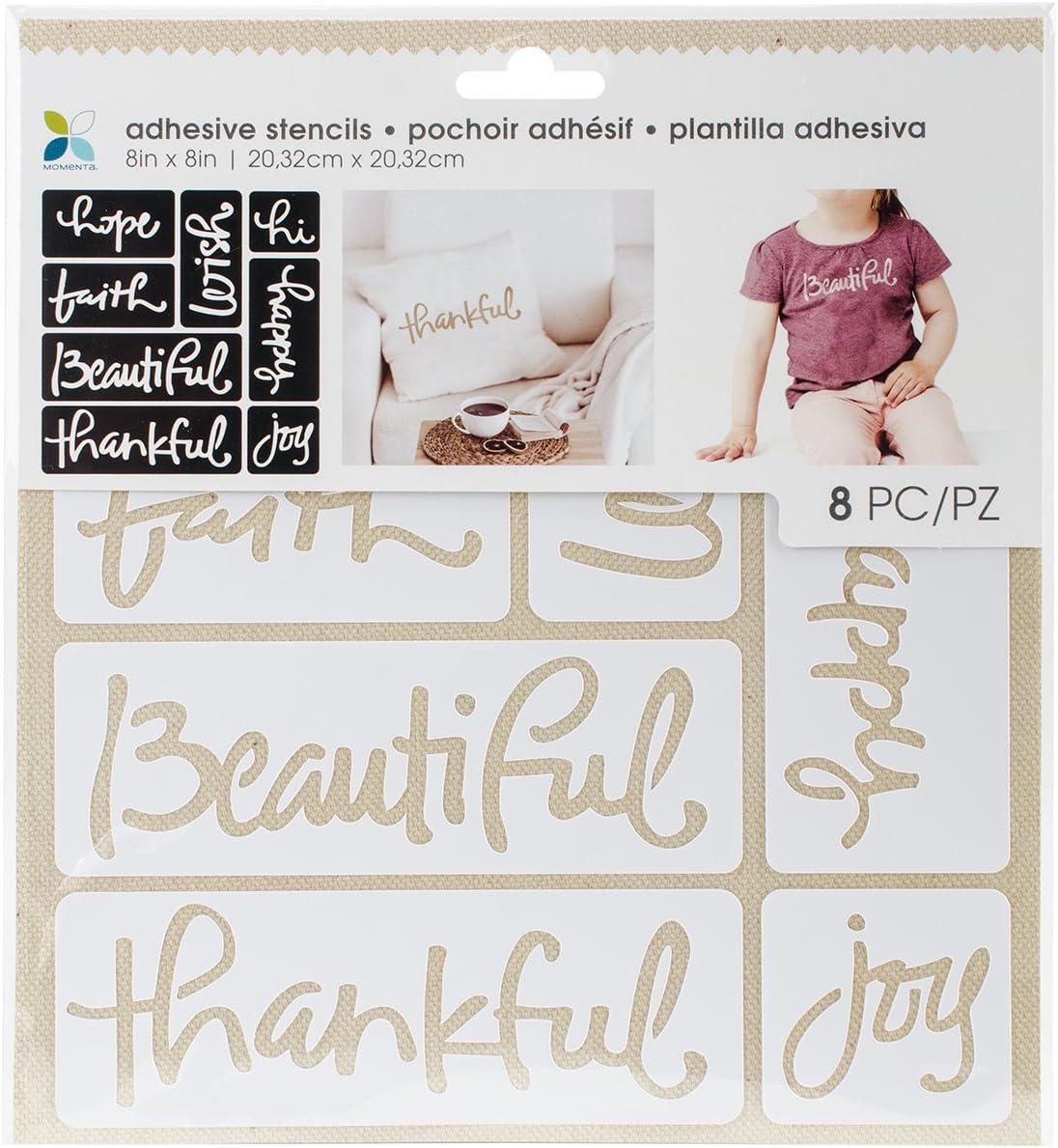 Momenta 29765 Adhesive Fabric Stencil 8X8.75-Script Words
