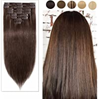 "100% Real Remy Clip in/on Human Hair Extensions Natural Invisible Long Straight Full Head 8pcs 18 Clips Silky Soft-#04 Medium Brown 16""-90g"