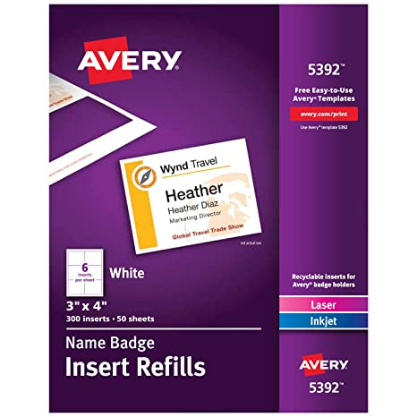 Avery Name Badge Inserts Print Or Write 3 X 4 Inch 300 Card Stock Refills 5392 White