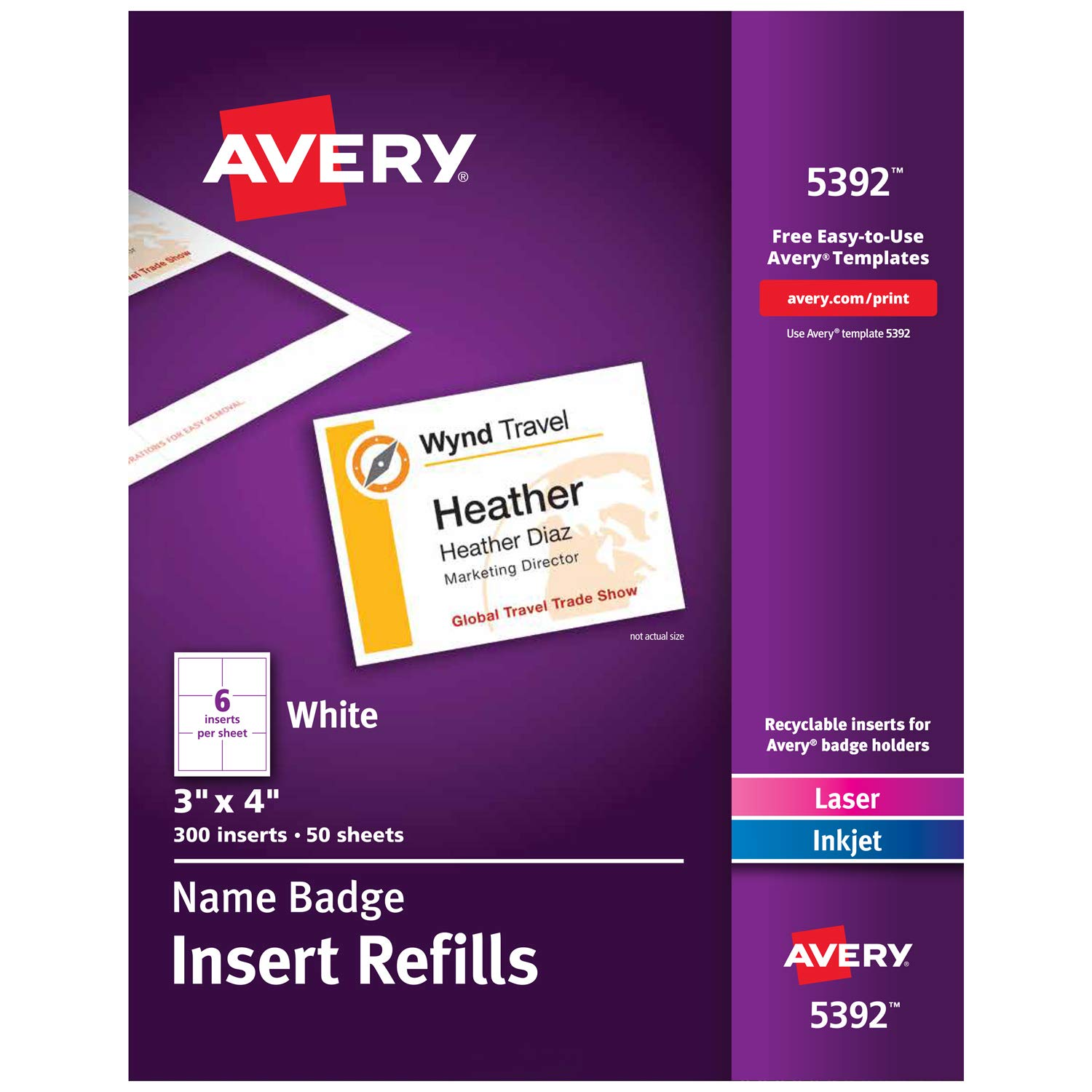 Avery Name Badge Inserts, Print or Write, 3'' x 4'', 300 Cardstock Refills (5392)