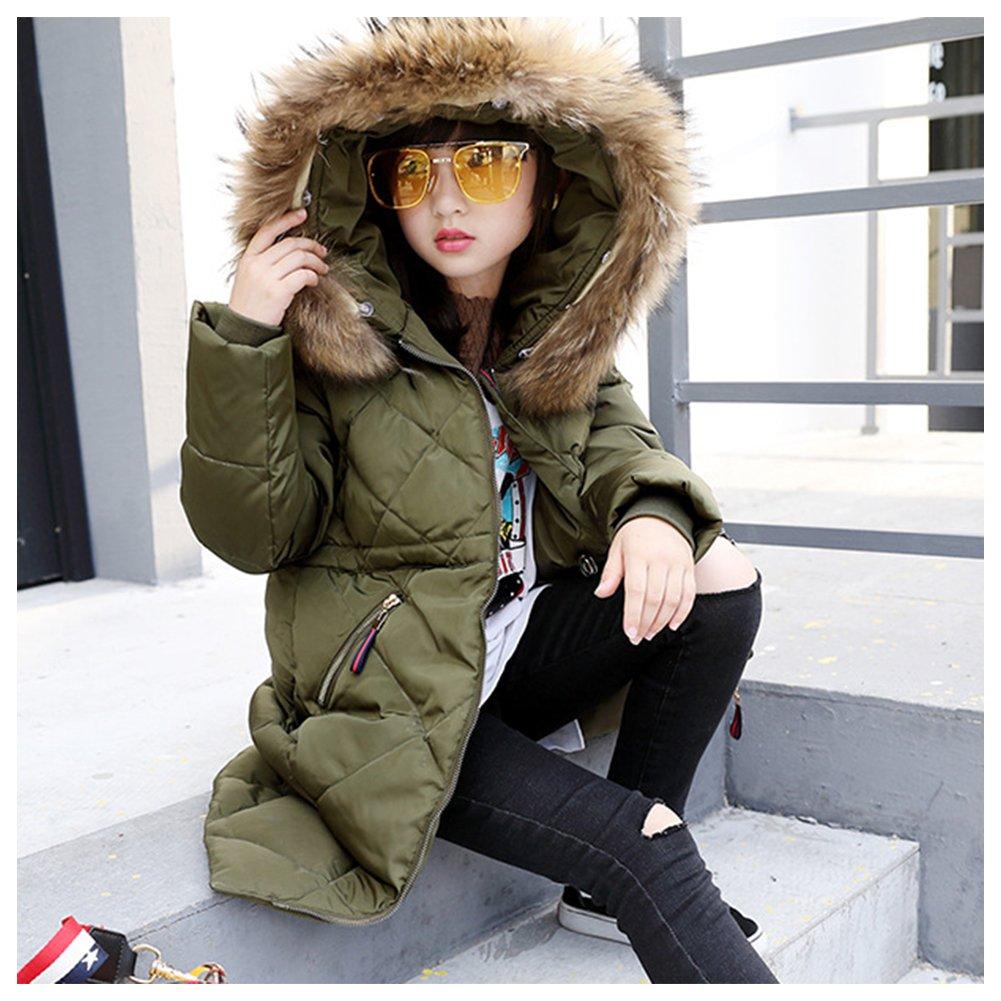 M/&A Girls Puffer Down Coat Long Winter Jacket with Fur Hood
