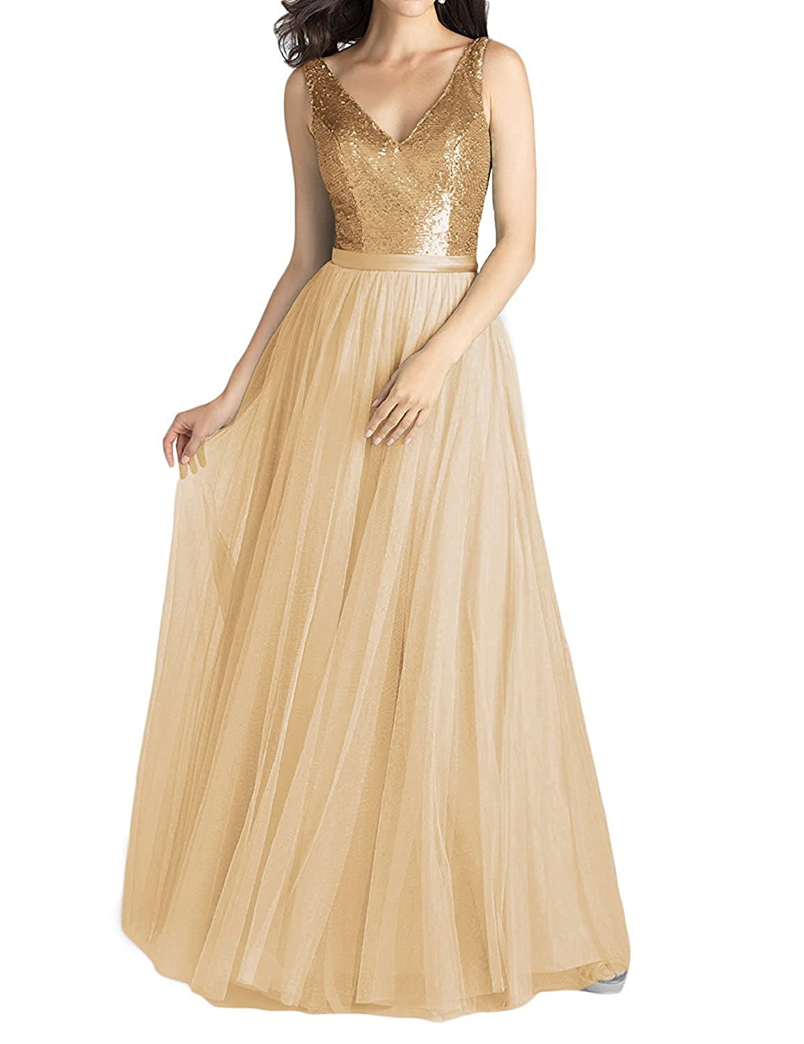 Pretygirl Womens V Neck Sequined Tulle Bridesmaid Dress A Line Long Prom Evening