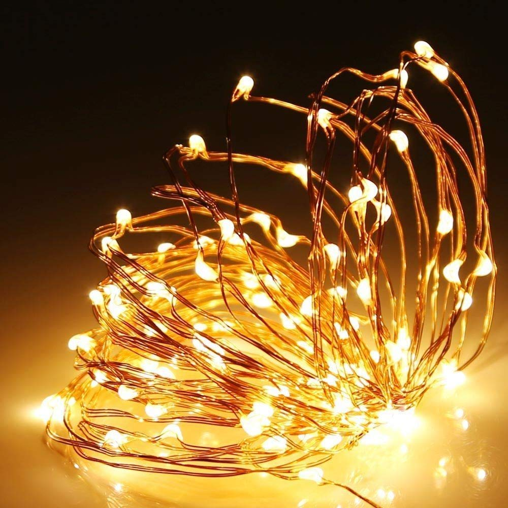 Shatchi 4m Long 40 Warm White Led Micro Rice Gold Copper Wire Indoor Battery Operated Firefly String Fairy Lights Bunch Wedding Party Christmas Decorations Home Bedroom Décor Buy Online In Cayman Islands