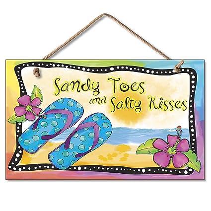 b6b43b970 Amazon.com  New Flip Flops Wall Plaque Beach Sign Tropical Decor Coastal  ART Summer Ocean  Home   Kitchen