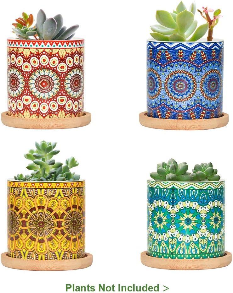 FairyLavie 7CM Macetas para Suculento de Cerámica Paquete de 4 con Bandejas de Bambú,patrón de Mandalas,Cactus Maceteros de Ventana Cajas Decoración para Mesa de Comedor Regalo para Cumpleaños Boda