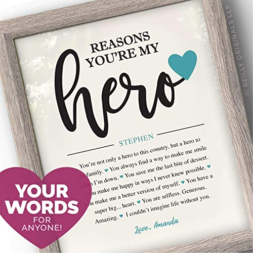 Reasons Youre My Hero Personalized Gift Birthday Things I Love About You Husband Boyfriend Cute Funny Sentimental Humor Wedding Engage Fiance Army Navy