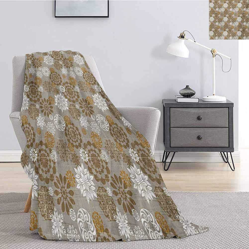 Tr.G Floral Rugged or Durable Camping Blanket Ornamental Flower Design Combinations Styles Diagonal Pattern Warm and Washable W91 x L60 Inch Sepia Amber Grey