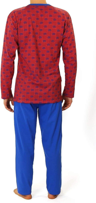 Sesto Senso/® Pijama Hombre Largo Inverno cl/ásico 100/% Algodon 2 Piezas Ropa De Dormir Conjunto Camisa Manga Larga Pantalones Largos