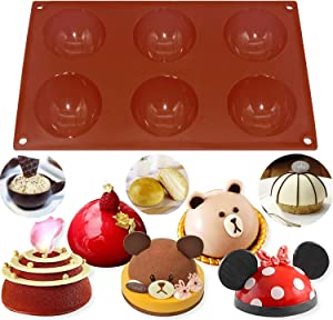 (1 Pcs) Domed Silicone Mold, 2.7 inch large 6 Holes Silicone Mold For Easter Egg Chocolate Cake Jelly Pudding Handmade Soap, Round Shape Hemisphere Silicone Mold,Dome baking Mold
