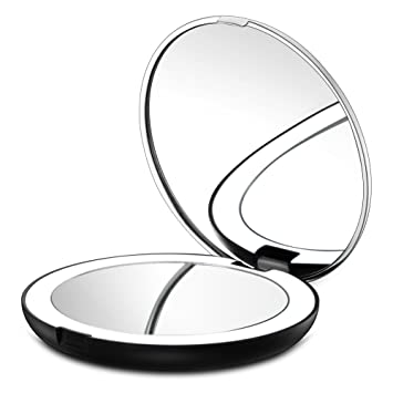 Gotofine LED Lighted Travel Makeup Mirror, 1X U0026 7X Magnification   Double  Sided, Luxury
