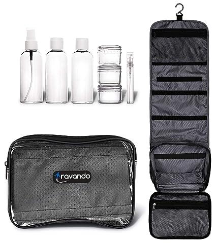 TRAVANDO ® neceser hombre bolsa de aseo para colgar neceser de viaje transparente compartimentos , , equipaje de mano, transporte de líquidos en el ...