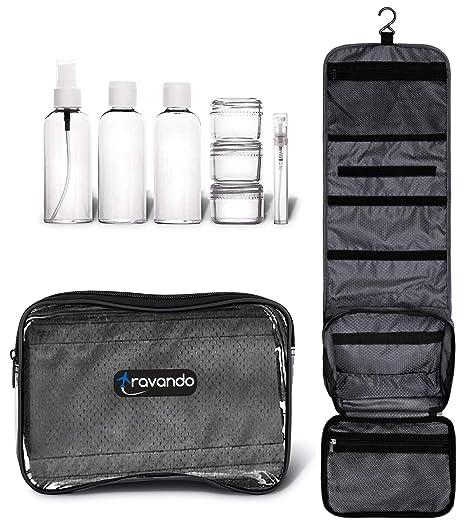 TRAVANDO neceser hombre bolsa de aseo para colgar neceser de viaje transparente compartimentos , , equipaje de mano, transporte de líquidos en el ...