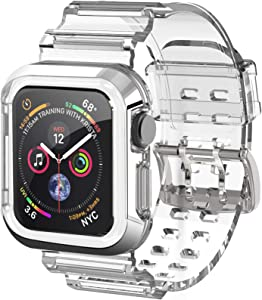 OWKEY Apple Watch Band 44MM 42MM with Rugged Bumper Case, Crystal Soft Shockproof Impact Resistant Protective Cover iWatch Band Strap for Apple Watch Series 6 SE 5 4 44MM | Series 3 42MM- Clear