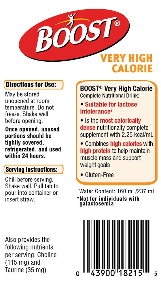 Boost VHC Very High Calorie Complete Nutritional Drink, Very Vanilla, 8 fl oz Box, 27 Pack by Boost Nutritional Drinks