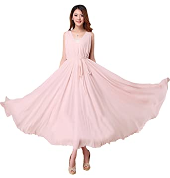 Medeshe Women\'s Double V Neck Nude Pink Chiffon Plus Size ...