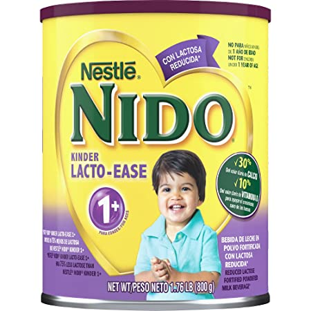 Amazon.com : Nido Kinder Lacto-ease 1+ Reduced Lactose Fortified Powdered Milk Beverage, 28.1 Ounce : Grocery & Gourmet Food