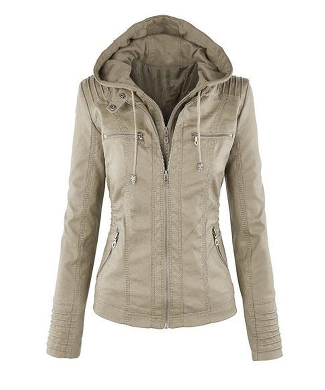 YouzhiWan007 Fashion Lapel Long Sleeve Solid Color Zipper Womens Leather Clothing Women Jackets Jacket Loose Element Coat Windbreaker Apricot XL