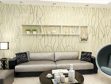 H&M Papel tapiz más grueso estilo moderno 3D simple no tejida papel pintado a rayas sala