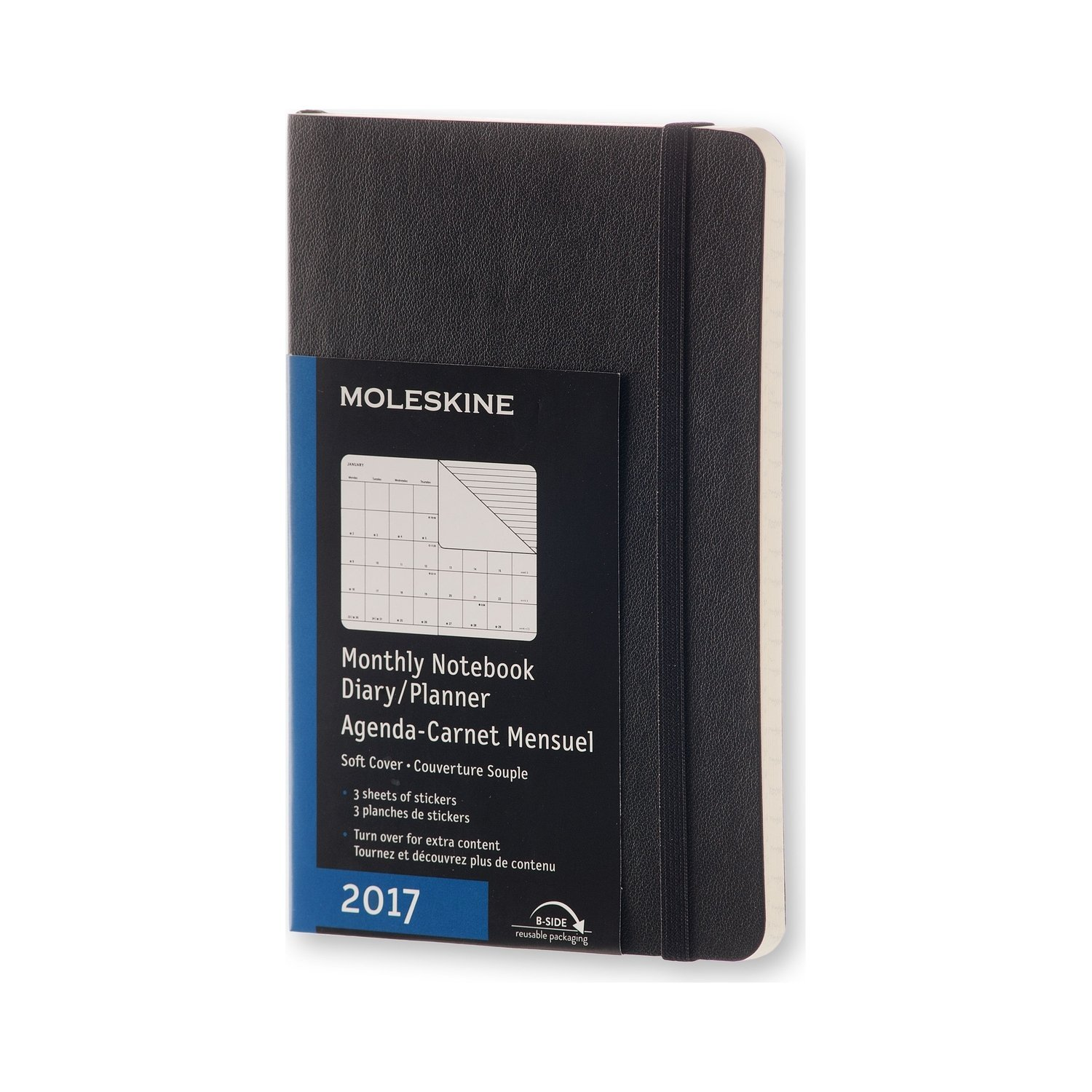 Moleskine Classic 12 Month 2017 Monthly Planner, Soft Cover, Pocket (3.5'' x 5.5'') Black by Moleskine (Image #1)