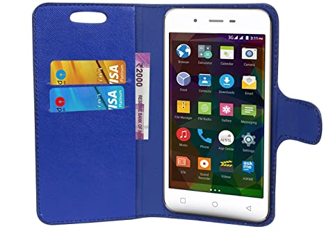 the best attitude cdb89 4929c TIMBU Flip Flap Cover Case with Wallet/Card Holder for Intex Indie 6- Blue
