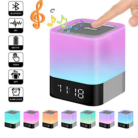Elecstars Touch Bedside Lamp with Bluetooth Speaker, Dimmable Warm Night Light, Alarm Clock, MP3 Music Player, Table Lamp with 4000mAh Battery, ...