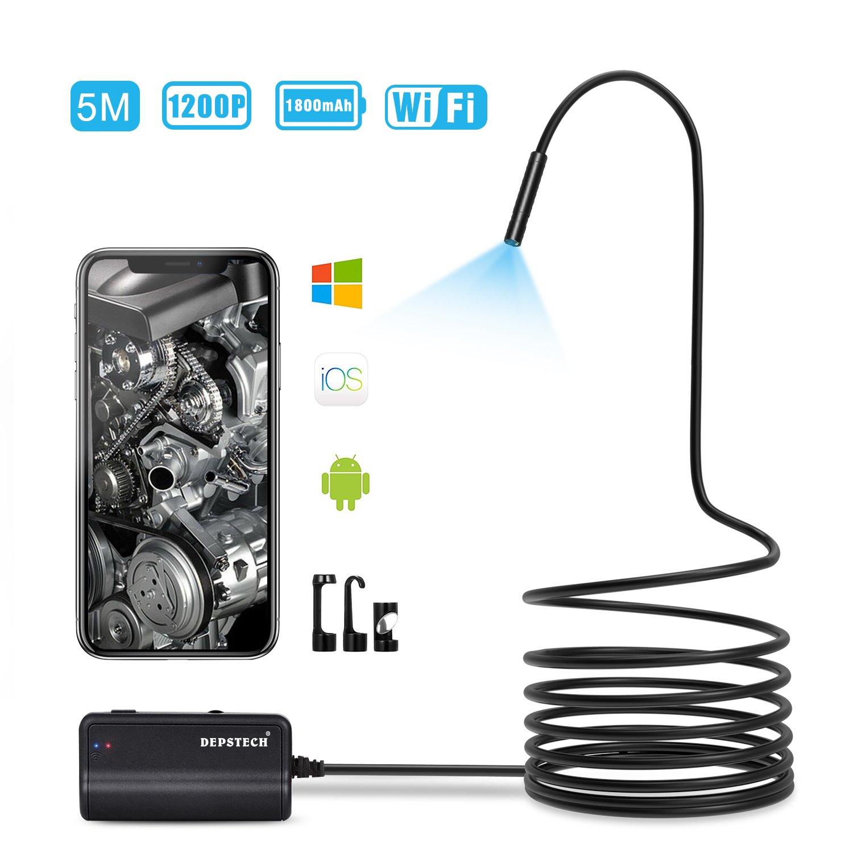 DEPSTECH Endoscopio Wireless 1200P Semi-Rigido, 2.0 MP HD WiFi, Distanza Focale a 15,7 Pollici Boroscopio Ispezione della Fotocamera per Android iOS Smartphone Tablet (5M) 6.567E+11