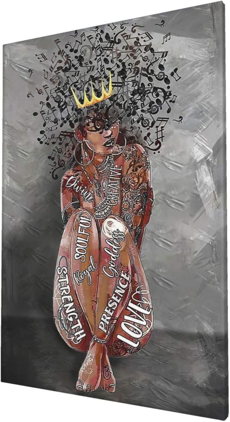 African American Wall Art Black Queen Music Hair Art Canvas Print Black Woman Flower Painting Funny Artworks Home Decor For Bathroom Living Room Bedroom Framed Ready To Hang 16x24 Inch